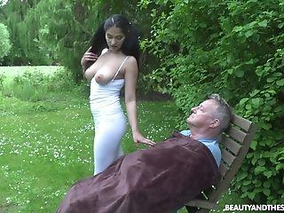 Black, Couple, Friend, Long Hair, Natural Tits, Old, Outdoor, Park, Ponytail, Public,