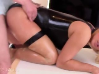 Blonde, Couple, Cumshot, Fetish, Latex, Oiled,