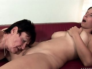 Big Tits, Granny, Lesbian, Licking, Mature, Old And Young, Oral Sex,
