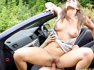 Blowjob, Car, Clothed Sex, Couple, Handjob, Hardcore, Missionary, Natural Tits, Nature, Outdoor,