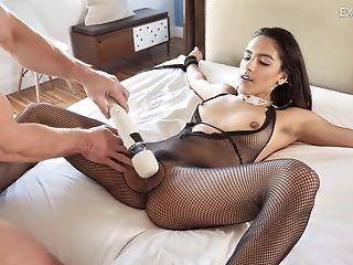 Ass, Bedroom, Big Natural Tits, Bodystocking, Brunette, Couple, Doggystyle, Fetish, Fishnet, Hardcore,