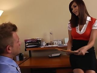 American, Ass Licking, Babe, Brunette, Clothed Sex, Cute, Hardcore, Holly Michaels, Office, Rimming,