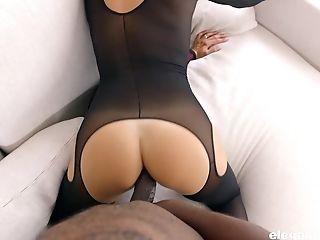 Big Black Cock, Blowjob, Couple, Doggystyle, Gemma, Hardcore, Interracial, Lingerie, Missionary, Nylon,