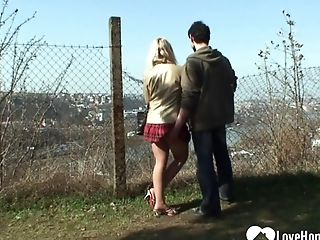 Blonde, Clothed Sex, Couple, Forest, Handjob, Hardcore, Licking, Outdoor, Reality, Teen,