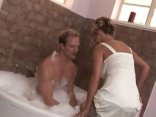 Bathroom, Big Cock, Big Tits, Blonde, Blowjob, Clothed Sex, Couple, Cumshot, Doggystyle, Facial,