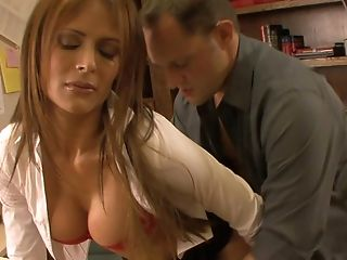 Big Ass, Big Tits, Blowjob, Clothed Sex, Desk, Licking, Long Hair, Moaning, Monique Fuentes, Office,