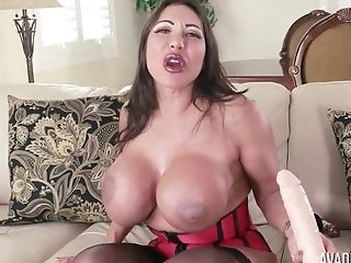 Amazing, Ava Devine, Big Tits, Dirty, Fake Tits, Lingerie, Masturbation, MILF, Model, Nylon,