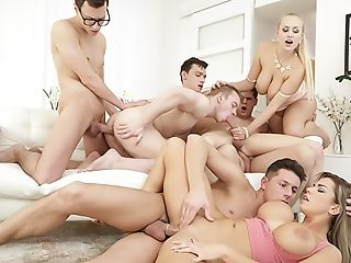 Anal Sex, Ass Licking, Balls, Big Tits, Bisexual, Blowjob, Condom, Doggystyle, Friend, Group Sex,