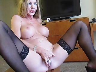 Amber Michaels, Big Tits, Blonde, Fake Tits, Masturbation, MILF, Model, Nikita Von James, Nylon, Pornstar,