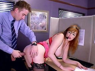Babe, Big Cock, Big Tits, Blowjob, Desk, Fake Tits, Fucking, Hardcore, HD, Lingerie,