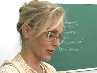 Big Tits, Blonde, Blowjob, Classroom, College, Cute, Desk, From Behind, Game, Glasses,